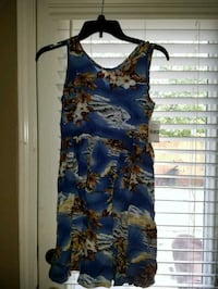 blue, white, and brown floral tank pleated midi dress 2295 mi