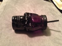 purple skull glass jar straw cup Kelowna, V1Y 7A3