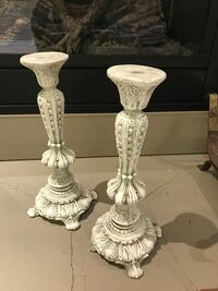 two white ceramic candle holders Toronto, M6A