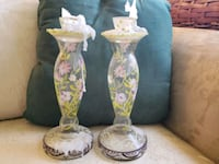 two white-and-pink floral ceramic vases Eatontown, 07724