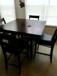 rectangular black wooden table with four chairs dining set Hampton, 30228