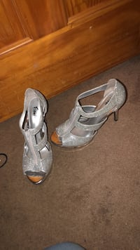 pair of gray open toe ankle strap heels Chesapeake, 23322