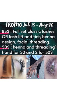 Beauty services lashes , henna, lash lift, eyebrows  Laval, H7N 4K2