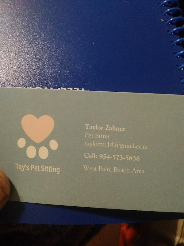 ab13d74472 Used Tays Pet Sitting Business Card For Sale In West Palm Beach Letgo