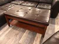 """Rectangular Coffee table Wood/ Leather Coffee table with two pull out trays    30"""" wide 22"""" tall 50"""" long very good condition Rockville, 20852"""