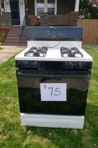 black and white gas range oven
