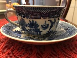 Occupied Japan Blue-and-White Willow Pattern Tea Cup And Saucer