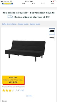 2 IKEA black Futon $60 each or $100 for both smoke free pet free Mc Lean, 22102