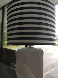 White Ceramic Lamp with Striped Shade