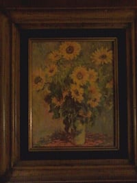 brown wooden framed painting of flowers16x14 Palmdale, 93550