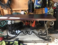 Wrought iron and wood console table
