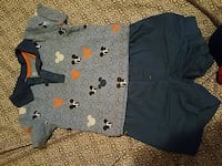 toddler's gray Mickey Mouse polo shirt and shorts set
