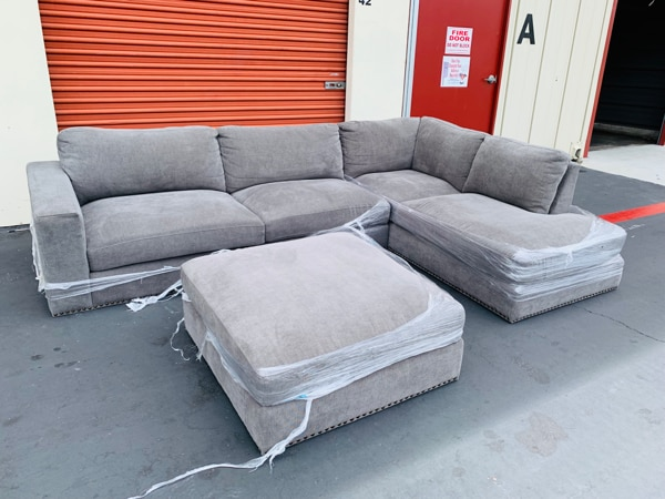 40%OFF // 3 Pieces Fabric Sectional Sofa with Ottoman // GREAT OFFER !!