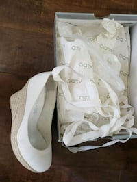pair of white leather open-toe wedges Toronto, M1T