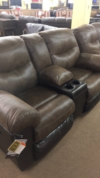 two brown leather home theater loveseat Radcliff, 40160