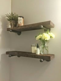 Rustic wood shelves with industrial pipe mount  Toronto