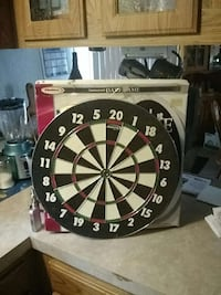 black and white dartboard with box Portland, 48875