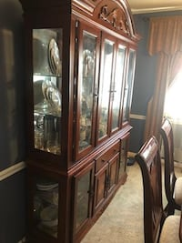 DINING SET AND CHINA CLOSET , 6 CHAIRS SILVERSPRING