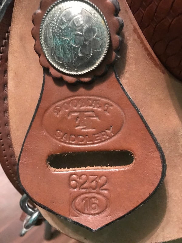 Saddle, Double T Ostrich Print Western