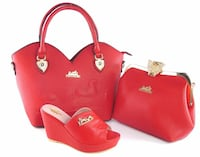 red leather shoulder bag and clutch bag with peep toe wedges Ontario, M9N 1B2