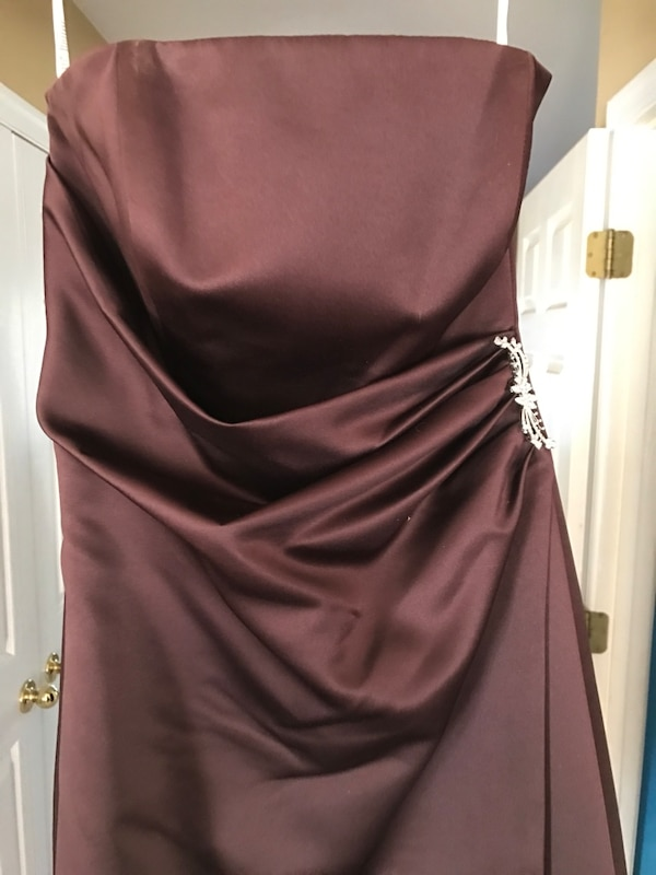 Women's Brown Strapless Dress with pendant 851d80a5-d18a-4605-9f77-e7f839a9377a