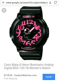 black Casio G-Shock digital watch Toronto, M9A 4M6