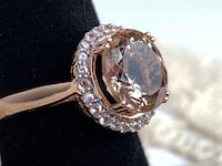4.50ct Round Morganite w/ .42ctw Round White Sapphire 10k Rose Gold Ring. 24 White Sapphires! Sterling, 20165