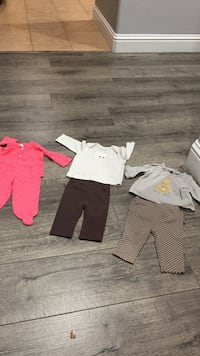toddler's pink footie pajama, sweaters and pants 0-3 m