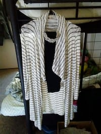 white and black striped button-up shirt Great Falls, 59404