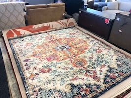 New Hillsby Oriental Orange & Navy Area Rug