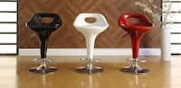 black, white, and red bar stools