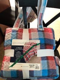 White, blue, and red plaid tote bag Seaside, 93955