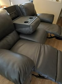 gray leather recliner sofa chair