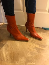 Pair of orange leather boots size 8 1/2 Suitland, 20762