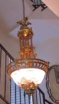 Victorian chandelier 57 inches long 22 inches wide can be hung from three stories high or just at the 57 inch height 1203 mi