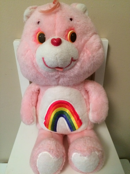 "vintage 1983 american greetings pink cheer carebear bear plush 13/"" tall"