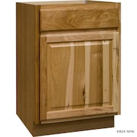 Hampton Bay » Hampton Assembled 24x34.5x24 in. Base Kitchen Cabinet with Ball-Bearing Drawer Glides in Natural Hickory
