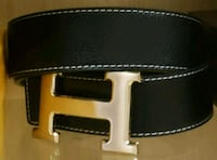 Black Hermes Leather Belt Largo, 20774