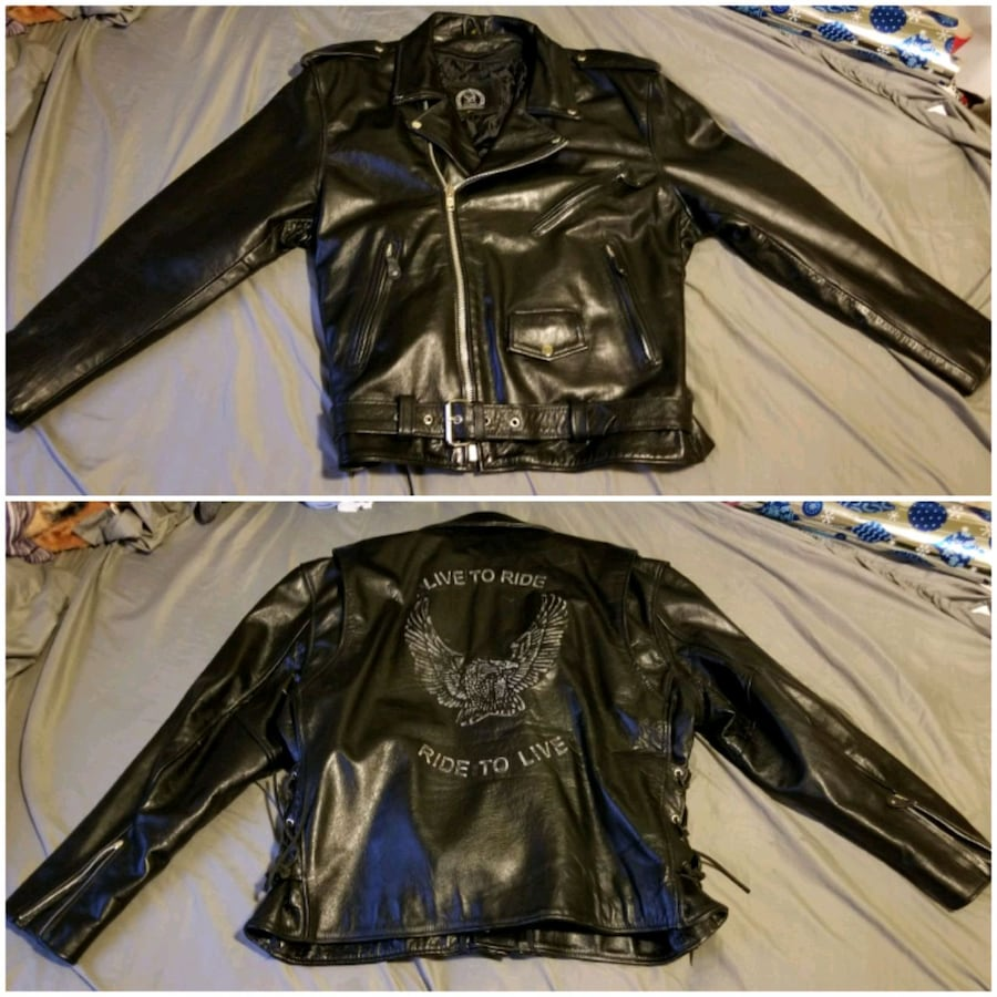 Mens 3XL Leather Jacket good condition raised lettering on back $50
