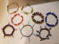 six assorted color beaded bracelets San Antonio, 78212