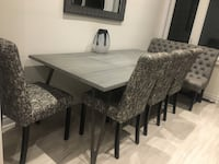 """This dining set includes beautiful dining table made of solid wood 79,5"""" x 39,5"""", comfortable bench and 4 comfortable chairs. The set is in excellent shape. The vase and the mirror come as a bonus. Richmond Hill, L4C 7V6"""