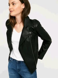women's black leather zip-up jacket old navy Vancouver, V5L 1J7