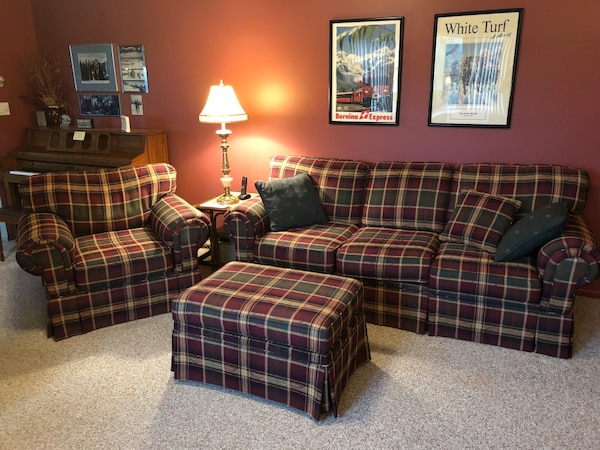 Used brown and green plaid fabric sectional sofa for sale in Stony ...
