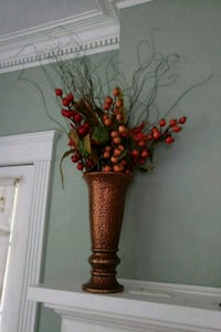 Faux Copper Urn with berries and branches