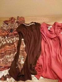three assorted-color long-sleeved blouses