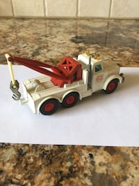 White and red dump truck toy