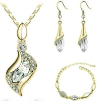 18K Gold Plated Set Cubic Zirco Pendant Necklace Earring Bracele London, N6P 1P6