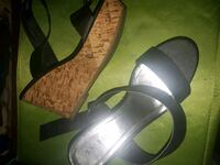 pair of gray leather open-toe heeled sandals West Kelowna, V4T 1K7