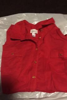 One ladies red blouse size   Xxlargewith gold buttons down the front