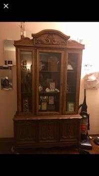 brown wooden framed glass display cabinet Swisher, 52338